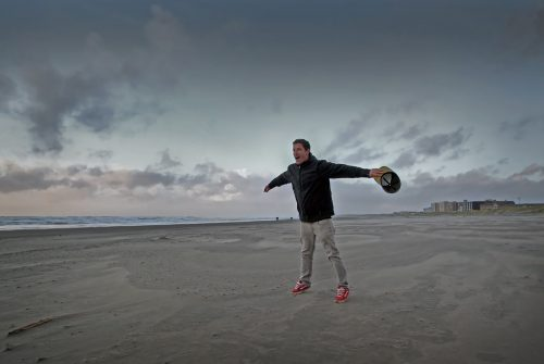Trying to take flight during a wind storm on the beach in Seaside, Oregon.